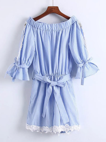 Blue Stripe 3/4 Sleeve Split Sleeve Contrast Lace Bow Tie Waist Playsuit