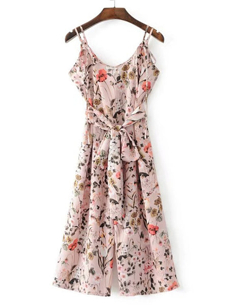 Pink Sleeveless Floral Print Jumpsuit With Self Tie