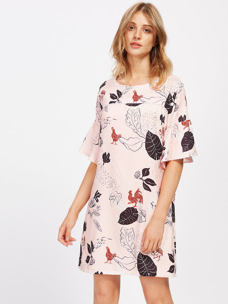 Pink Flower Print Bell Sleeve Mini Dress