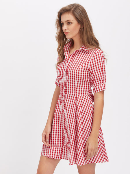 Red Checkered Half Sleeve Tie Waist Front Button Shirt Dress