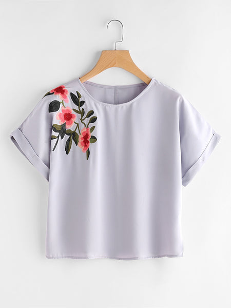 Grey Cuffed Sleeve Front and Back Flower Embroidered Top