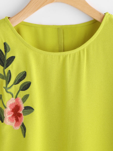 Yellow Floral Embroidered Round Neck Cuffed Sleeve Top