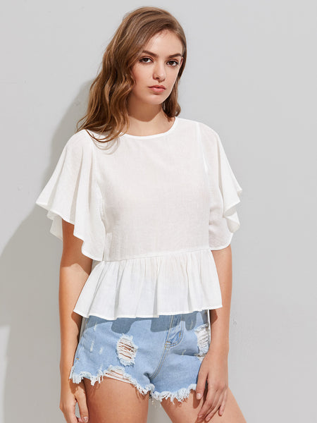White Peplum Lace Up V Back Dolman Top