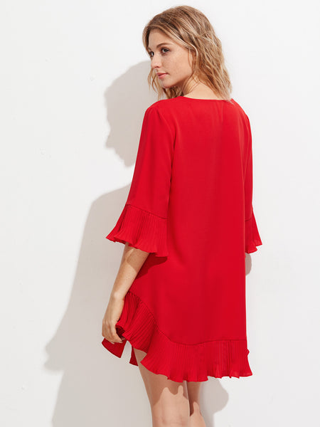 Plain Red Frill Trim 3/4 Sleeve Round Neck Mini Dress