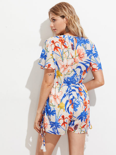 Blue Floral Print Striped Short Sleeve V-Neck Drawstring Waist Playsuit