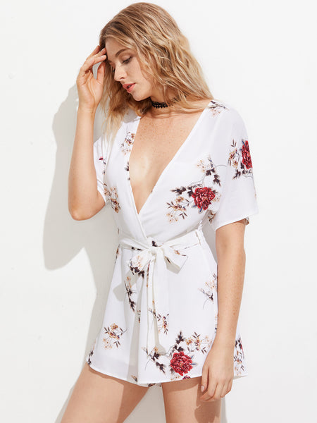 White Floral Print Short Sleeve Self Tie Plunging V-Neckline Tie Back Playsuit