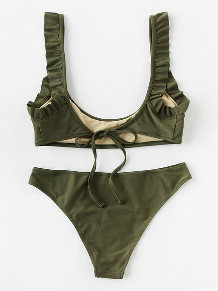 Green Frill Trim Scoop Neckline Tie Back Bikini Set