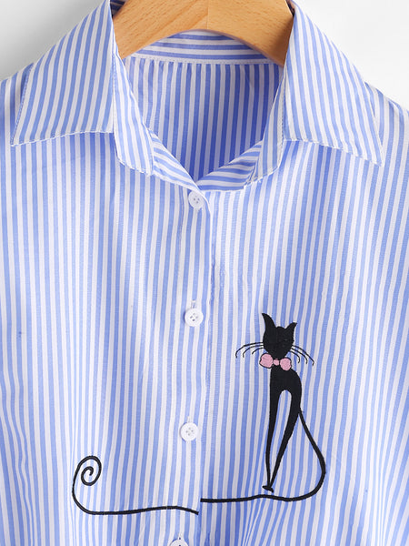 Blue Pinstriped Cat Embroidered Front Button Knot Front Rolled Sleeve Shirt