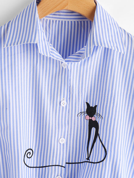 Blue Stripe Cat Embroidered Cuffed Sleeve Front Knot Shirt