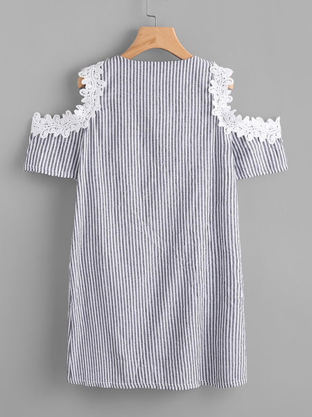 Grey Lace Up Stripe Open Shoulder Lace Accent Short Sleeve Dress