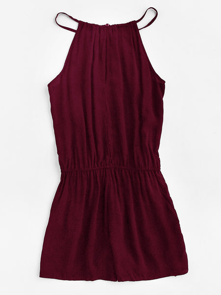 Burgundy Sleeveless Embroidered Tape Detail Cami Romper