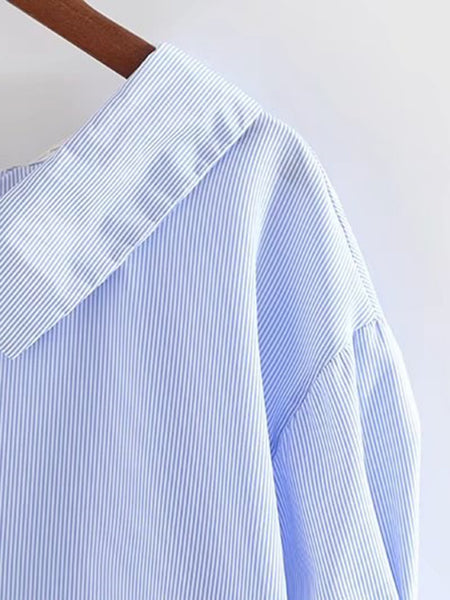 Blue Pinstripe Front Button Tie Sleeve Collared Top
