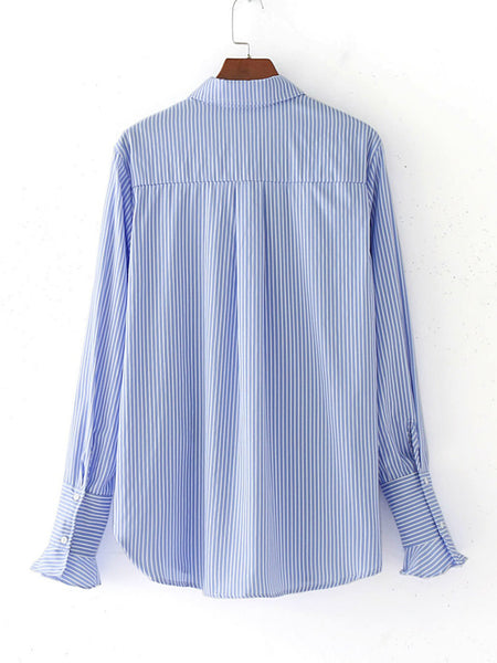 Blue Pinstripe Long Sleeve Floral Embroidered Top