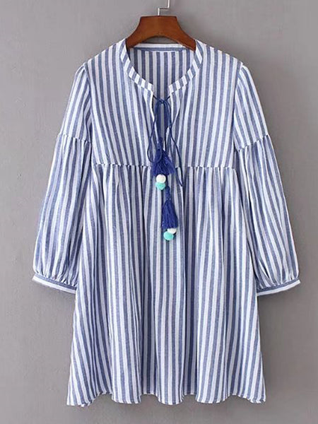Blue Tassel Pom Pom Tie Striped Lantern Sleeve Dress