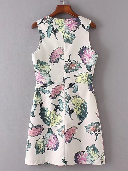White Sleeveless Floral Print Back Zip Sheath Dress
