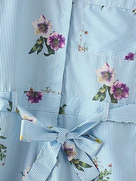 Blue Stripe Floral Print Bow Tie Waist Short Sleeve Pinstripe Playsuit