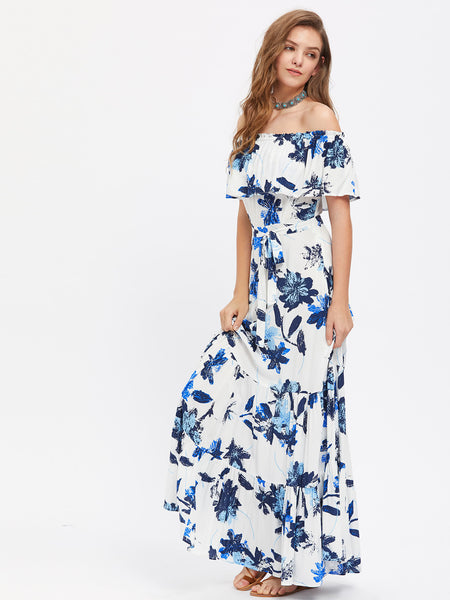 Blue Overall Floral Print Layered Off Shoulder Short Sleeve Flounce Maxi Dress