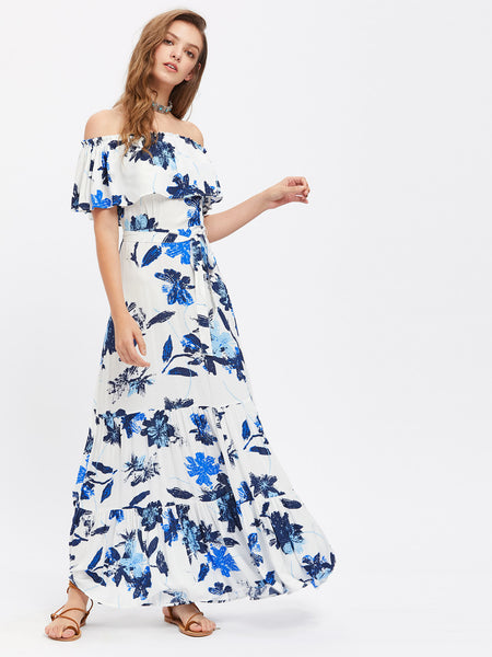 d66db0925b Blue Overall Floral Print Layered Off Shoulder Short Sleeve Flounce Maxi  Dress