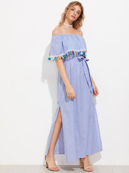 Blue Striped Layered Half Sleeve Off Shoulder A Line Tassel Trim Flounce Side Slit Maxi Dress