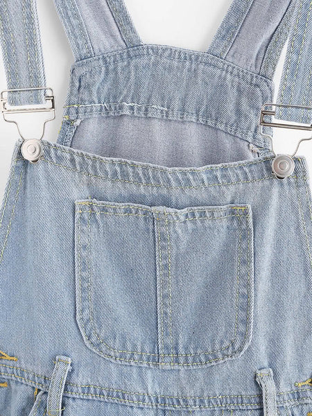 Blue Denim Sleeveless Cuffed Button Dungaree Shorts