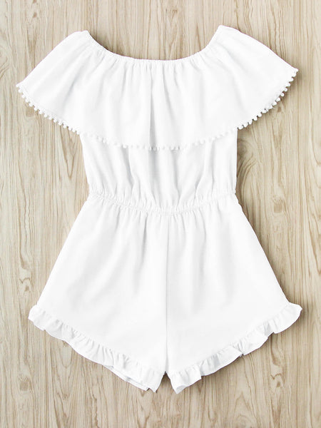 Plain White Flounce Layered Short Sleeve Off Shoulder Playsuit