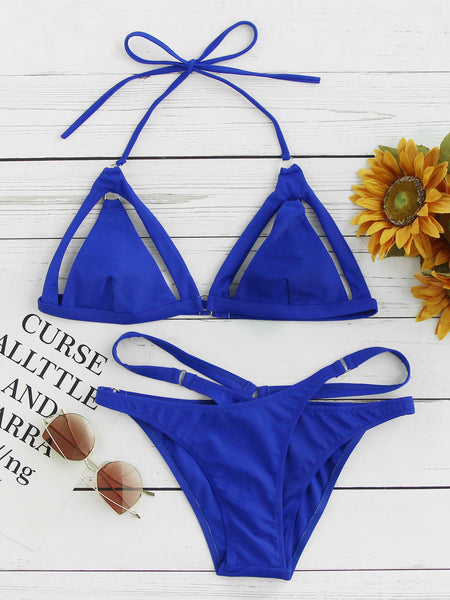 Blue Triangle Cut Out Detail Halter Wrap Bikini Set