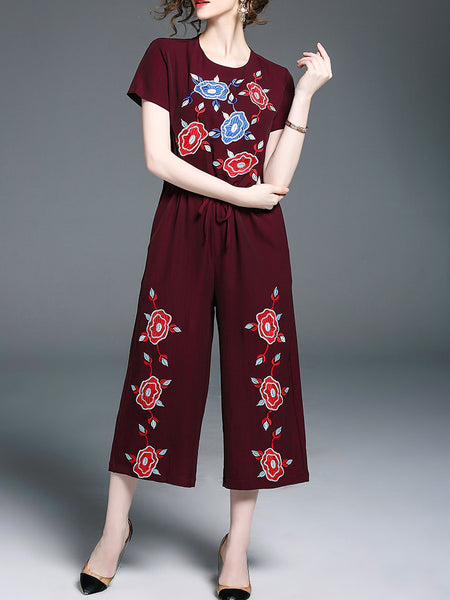 Burgundy Floral Embroidery Short Sleeve Drawstring Pockets Jumpsuit