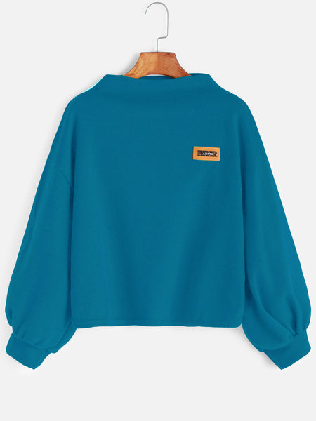 Blue High Neck Patch Lantern Sleeve Sweatshirt