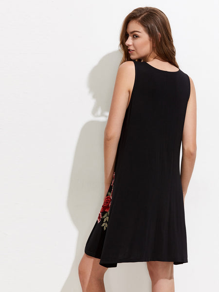 Black Sleeveless Embroidered Side Pocket Swing Dress