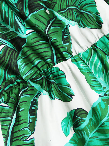Green Overall Banana Leaves Print Cami Straps V-Neck Sleeveless Romper