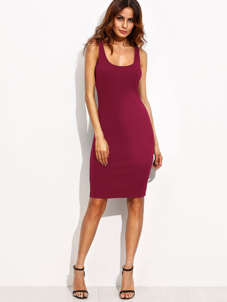 Burgundy Sleeveless Double Scoop Bodycon Dress