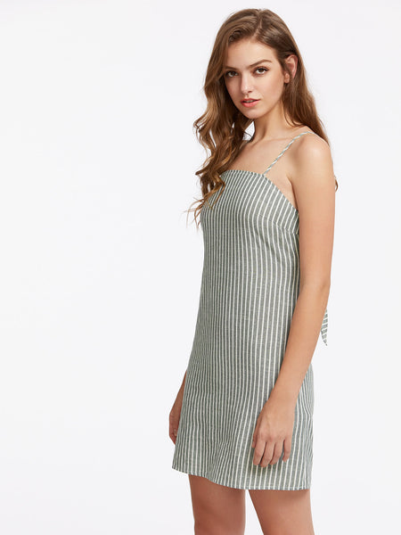 Grey Pinstripe Spaghetti Strap Open Back Knot Tie Cami Dress