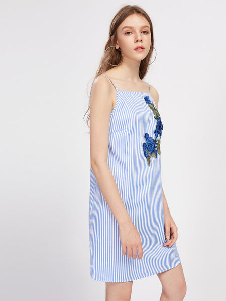 Blue Vertical Stripe Floral Embroidered Pattern Square Neck Cami Dress