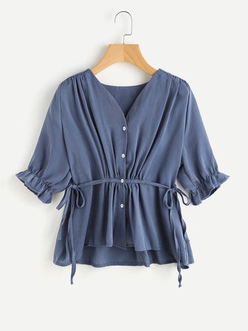 Blue Button Front Tie Side Half Sleeve High Low Blouse