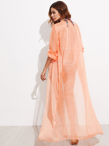 Pink Long Sleeve Self Tie Kimono Cover Up