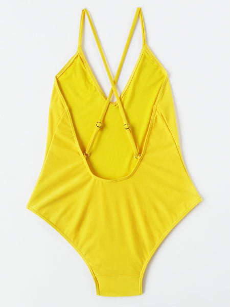 Yellow V-Neck Cross Back Adjustable Strap One Piece Swimsuit