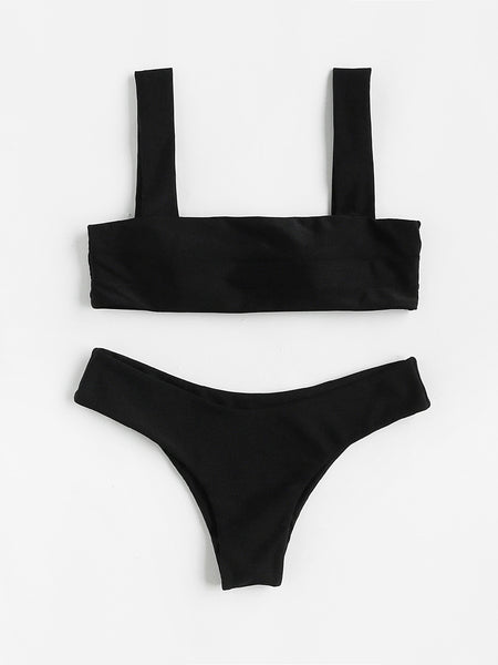 Black Thick Strap Rectangular Push Up Bikini Set