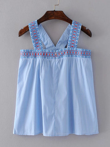 Blue Pinstriped Thick Strap Embroidered Back Zip Top