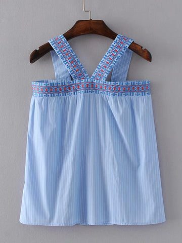 237d77b00e4 Blue Pinstriped Thick Strap Embroidered Back Zip Top
