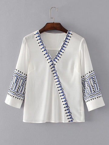 8362d3c72bc White Long Sleeve Wrap Embroidered V-Neck Top