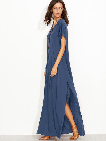 Blue Round Neck Side Slit Maxi Tee Dress