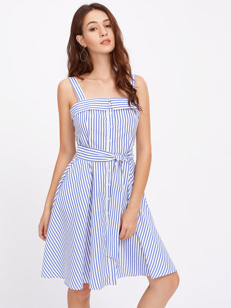 Blue Stripe Thick Strap Front Button Self Tie Pinafore Dress