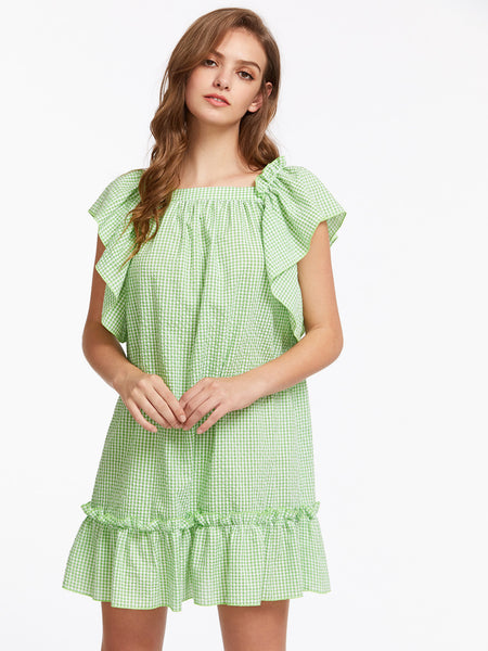 Green Checkered Square Neck Flutter Sleeve Bow Back Ruffle Dress