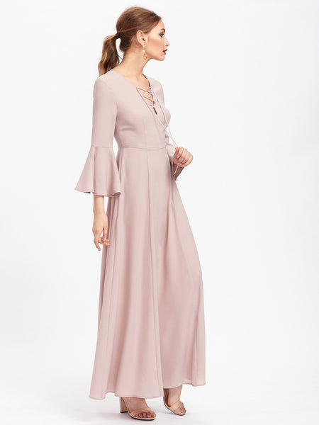 Pink Fluted Sleeve Lace Up Front Maxi Dress