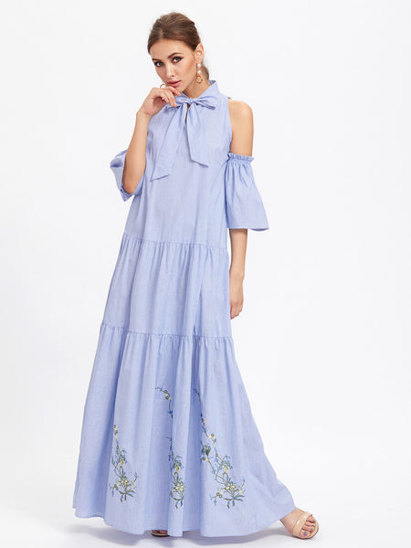 Blue Embroidered Bow Front Cold Shoulder Tiered Maxi Dress