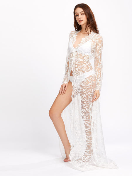 db7f3c747b0 White Long Sleeve See-Through Floral Eyelash Lace Cover Up – Lyfie