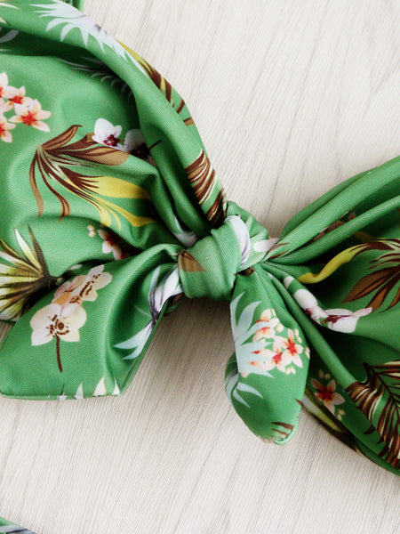 Green Floral Print Front Bow Tie High Waist Bikini Set