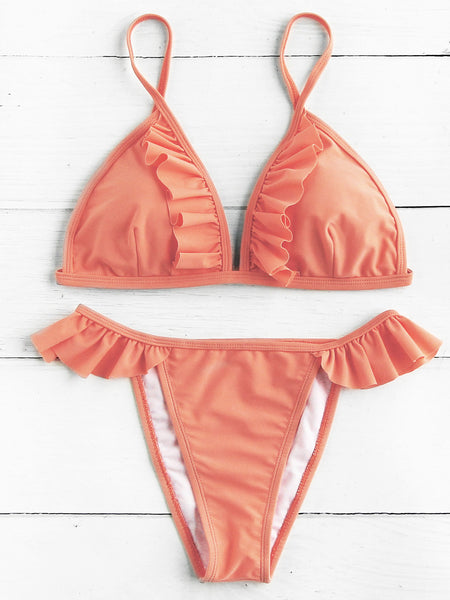 Orange Triangle Ruffle Trim High Leg Bikini Set