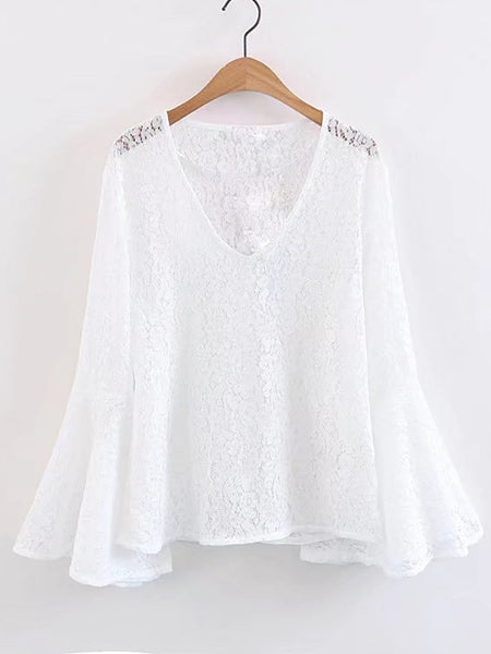 White Long Bell Sleeve V-Neck Lace Top