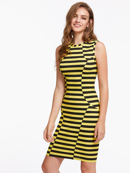 Black and Yellow Stripe Rib Knit Paneled Dress